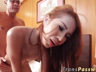 Ginger ladyboy with big tits rides big fat dick