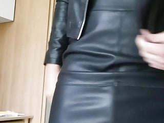 German Teen crossdresser loves leather clothes