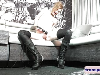 Cute alternative femboy uses a vibrator