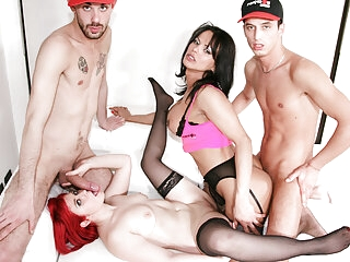 TRANSBELLA #Bia Mastroianni - 4some Party With A Busty TGirl