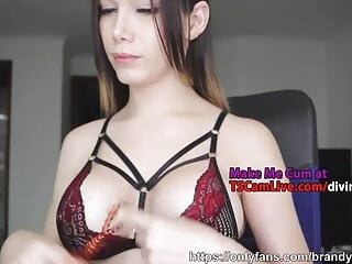 Colombian Cute Busty Shemale Teen Live on WebCam, Part 5