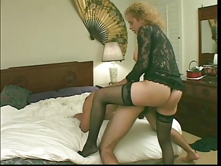 Busty blond tranny in sexy lingerie sucks cock & fucks ass then gets ass fucked