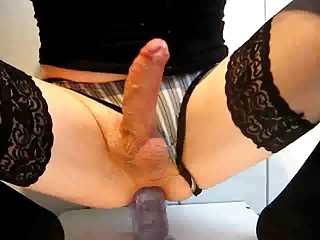 Hot Crossdresser Rides Dildo And Cums