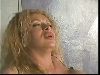 Tranny bitch sucks cock and gets her ass fucked on the sofa