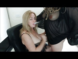 Tranny cums on smoking milf