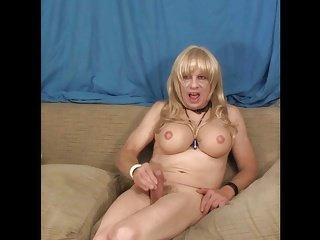 Ally Transsexual Jerks Off on the Couch