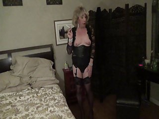 Leather Corset Smoking Bimbo