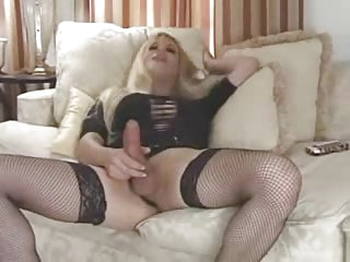 Blonde Tranny Jerks her dick and cums