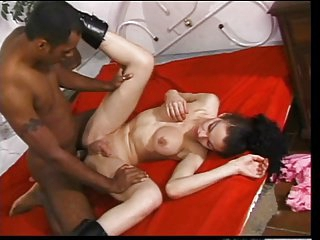 Black dude with tattoo loves to pound the asshole of a thin big tit tranny