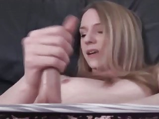 Cute Blonde TG Plays With Her Cock