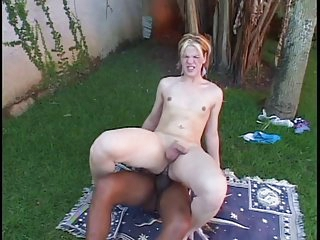 Tranny babe with small tits gets a mouth full of cock outside then fucks