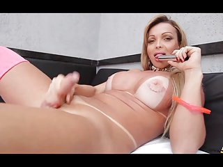Shemale stroking and dildo action with the lovely Carla