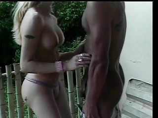 Blonde tranny gets her swollen cock swallowed by guy