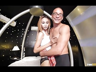 Small Asian TS suck and fuck big cock