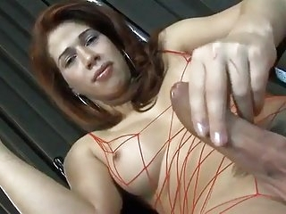 Shemale With bigcock in red fishnets
