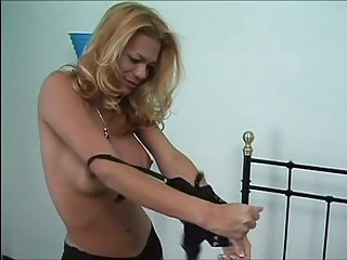 Blonde tan tranny in black undies fuck on bed