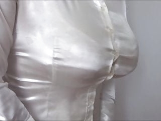 big boobs under satin blouse