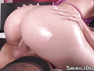 Tgirl with massive tits goes deep inside dripping wet pussy
