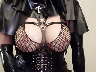 Asian rubber nun latex fetish doll strokes cock