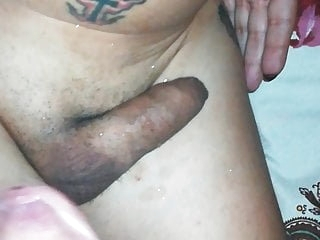 Cumming on shemale